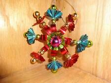 """Vintage 3D Red Green Blue Gold Plastic 5"""" Star Christmas Tree Ornament"""