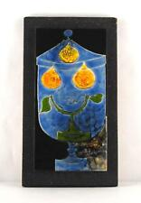 Signée Gilbert Valentin les Archanges Céramique Abstrait Peint Plaque sur Bois