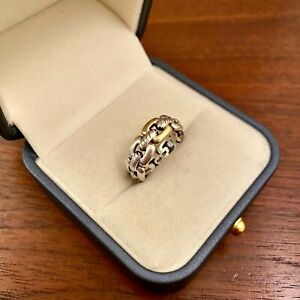 DAVID YURMAN STERLING SILVER & 18K YELLOW GOLD WELLESLEY CABLE LINK RING SIZE 7