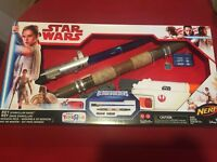 Star Wars Rey Blade Builders Mission Pack NERF Gun Light Saber Toys R Us Ex NEW