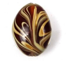 Lampwork Handmade Glass Amber Taffy Swirl Oval Pendant Focal Bead 30mm