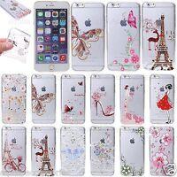 Per Iphone 7 Sottile Morbida Diamante TPU Stampato Gel Silicone Bling Cover 8 6s