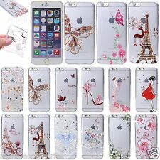 For iPhone 7 Thin Soft Diamond TPU Printed Silicon Gel Bling Case Cover 8 6s 5 X