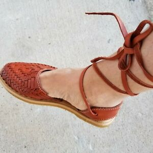 Genuine Mexican Women Gladiator Leather Sandals / Huaraches -Shedron Size 7 US