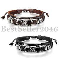 Women Unisex Black Brown Leather Tribal Charm Love Infinity Cuff Bangle Bracelet