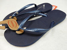 HAVAIANAS WOMENS SANDALS SLIM CRYSTAL GLAMOUR SW NAVY BLUE SIZE 7/8