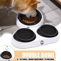 Pet Double Bowl Dog Cat Food Water Drinking Dish Feeder Stand Adjustable  *