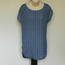 'TARGET' BNWT SIZE '12' BLUE, BLACK & WHITE CAP SLEEVE SOFT & SILKY LONG TOP