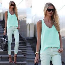 Women Chiffon Tank Tops Sleeveless Summer Casual Vest Shirt Tee Blouse Plus Size