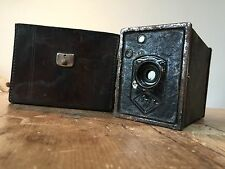 VINTAGE BOX CAMERA & CASE FOR PARTS/PROP  RUSTED & NOT WORKING GERMAN WRITING