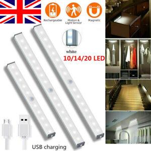 Lamp Cabinet Wireless LED Closet Light PIR Motion Sensor USB Rechargeable Strip