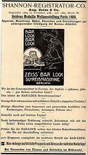 Zeiss Bar Lock Schreibmaschine m. doppelter Tastatur Annonce 1902