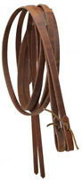 """Showman MADE IN USA 8' x 1/2"""" Western LEATHER Split REINS with WATER LOOP Ends"""