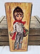 Tableau dessin Poulbot F.Lolylle/gamin/enfant/ panier légumes années 60-70