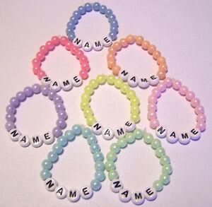 Baby Kinder Armband mit Namen für Taufe Geburt Klinik Namensband Acryl Perlen *