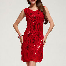 NUOVO 1920s VINTAGE Gatsby Charleston Flapper paillettes cuore rosso PARTY DRESS 10/12