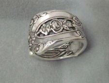 Silver Spoon Oxidized  Adjustable Ring,Vintage Empire Floral Design