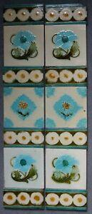 Original Antique Set Art Nouveau Fireplace Tiles with Floral Spacers Birmingham