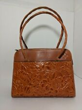 Patricia Nash Brown Tooled Leather Paris Large Satchel Purse Shoulder Straps