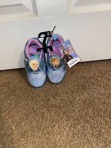 Disney Frozen 2 Toddler Girls Blue Light Up Shoes Size 8 Anna And Elsa