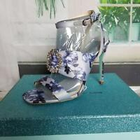 Betsey Johnson Women's Scoti Floral Sandals Heels Size 7.5M Open Toe Blue/Purple