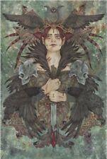 Linda Ravenscroft Original la Morrigan Irlandais mythologie Valkyrie SHAMEN peinture