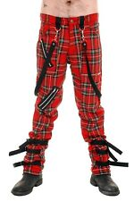 Mens Punk Rock Strap Bondage Tartan Trousers.