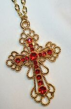 Lacy Filigreed Openwork Picot Rimmed Goldtone Red Rhinestone Cross Necklace