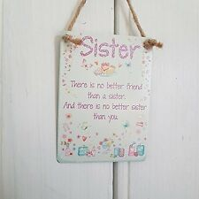 Sister Best Friend Sentimental Mini Metal Hanging Sign Shabby Chic