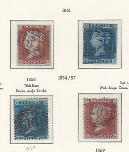 Lot:39447  GB QV  1841 1d red brown imper 2d Blue imperf  1d red star and 2d blu
