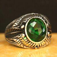 925 Sterling Silver Handmade Gemstone Turkish Emerald Men's Ring Size 7-12