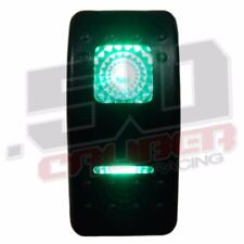 ON/OFF/ON 3 Position 12V LED Lit Rocker Switch Rat Hot Rod Drag Race Car Green