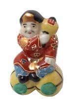"Daikoku Porcelain 3.5"" Figure god of Wealth Moriage Magic Hammer Japanese EUC"