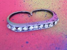Double 2 Finger Pave Brass Knuckle Ring Silver Tone Rhinestone Bar Statement