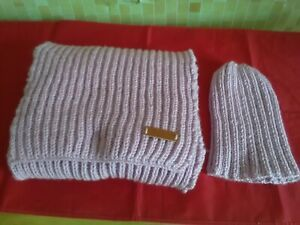 Lilac Pink Handmade Hand-knitted Scarf  23 x163cm + a Free Beanie Hat