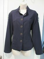 Chico's Navy Blue Poly Blend Over-sized Snap-Front Jacket w/ Pockets Sz 2