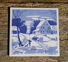 "Hoover The Homestead in Winter Blue 4 1/4"" Tile Horse Carriage Currier & Ives"