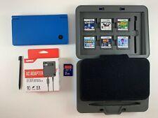 Nintendo DSi TWL-001 Blue System Bundle New Charger Stylus Case 6 Games