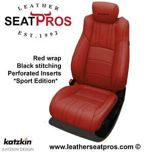 Leather Seat Covers 18-21 Honda Accord Sedan LX EX Sport Logo Hybrid Red Black
