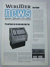 Vintage 1970s Jukebox Advertising Wurlitzer News Brochure 052412R