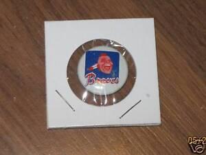 Original 1970's BRAVES Team Logo Tin Litho Baseball pin # 12
