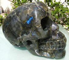Natural Labradorite crystal Hand Carved Skeleton Super Realistic Healing SKUll