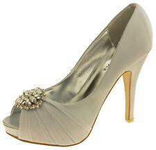 Womens Sabatine Satin Diamante Cluster Bridal Wedding Shoes Sizes 3 4 5 6 7 8