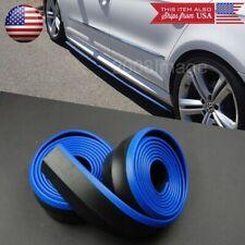 2 x 8FT Black w/ Blue Trim EZ Fit Bottom Line Side Skirt Extension Lip For  Ford