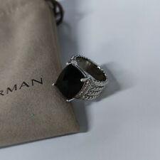 David Yurman Sterling Silver Black Onyx Wheaton Ring Size 8