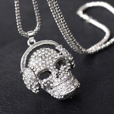 Sweater Chain Jewelry Skull Necklace Silver Color Skeleton Rhinestone Pendant