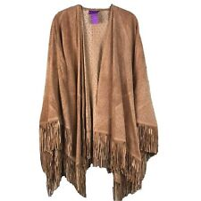Suzanne Somers Suede Leather Wrap Poncho Fringe Collection Brown One Size