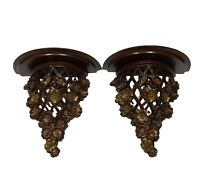 Vintage Pair of Syroco Sconces Shelves Cut Wood Flowers Mahogany And Gold