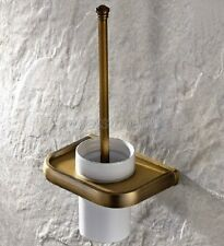 Bathroom Toilet Brushes Set Antique Brass Wall Mount Toilet Brush Holder qba176