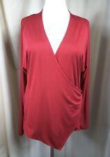 OSKA Red Silk Blend Crossover Shirt Top Size Regular IV UK16-18 EU44-46